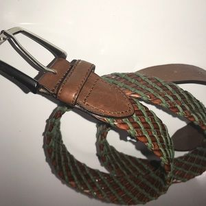 Zara Men's Leather Belt brown and green woven 36